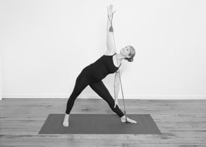 Triangle Pose with a resistance band
